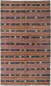 Kelim Tyrkiske Teppe 186X318 Ekte Orientalsk Håndvevd Mørk Grå/Lysbrun (Ull, Tyrkia)
