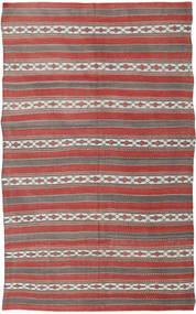 Kelim Turkisk Matta 163X274 Äkta Orientalisk Handvävd Ljusgrå/Mörkröd (Ull, Turkiet)