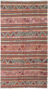 Kelim Turkisk Matta 177X335 Äkta Orientalisk Handvävd Roströd/Ljusgrå (Ull, Turkiet)