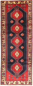 Hamadan Rug 110X293 Authentic  Oriental Handknotted Hallway Runner  Dark Purple/Rust Red (Wool, Persia/Iran)