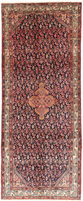 Hamadan Rug 125X314 Authentic  Oriental Handknotted Hallway Runner  Dark Red/Dark Brown (Wool, Persia/Iran)