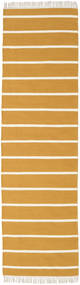 Dhurrie Stripe - Mustard Yellow Rug 80X300 Authentic  Modern Handwoven Hallway Runner  Light Brown/Beige (Wool, India)