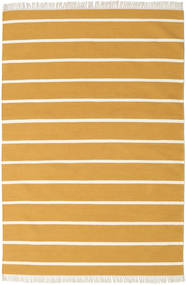 Dhurrie Stripe - Mustard Yellow Rug 160X230 Authentic  Modern Handwoven Light Brown/Beige (Wool, India)