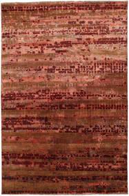 Damask Matta 196X300 Äkta Modern Handknuten Mörkbrun/Mörkröd ( Indien)