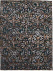 Damask Matto 275X367 Moderni Käsinsolmittu Tummansininen/Tummanharmaa Isot ( Intia)