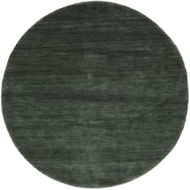 Handloom - Skovgrøn Tæppe Ø 150 Moderne Rundt Mørkegrøn/Mørkegrøn (Uld, Indien)