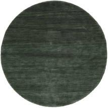 Handloom - Verde Pădure Covor Ø 150 Modern Rotund Verde Închis/Verde Închis (Lână, India)