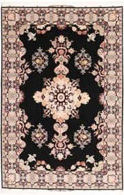 Tabriz#60 Raj Silkkiloimi Matto 202X305 Itämainen Käsinsolmittu Tummanruskea/Beige (Villa/Silkki, Persia/Iran)