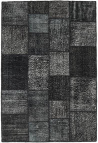 Patchwork Alfombra 138X204 Moderna Hecha A Mano Gris Oscuro/Negro (Lana, Turquía)