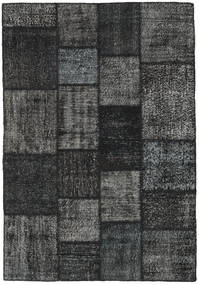 Patchwork Rug 138X200 Authentic  Modern Handknotted Black/Dark Grey (Wool, Turkey)