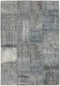 Patchwork Rug 140X203 Authentic  Modern Handknotted Light Grey/Blue (Wool, Turkey)