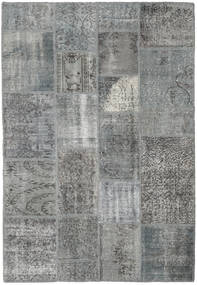 Patchwork Matto 138X200 Moderni Käsinsolmittu Tummanharmaa/Vaaleanharmaa (Villa, Turkki)