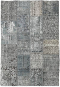 Patchwork Rug 138X200 Authentic  Modern Handknotted Dark Grey/Light Grey/Light Green (Wool, Turkey)