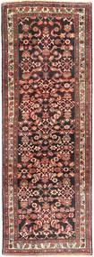 Hamadan Rug 110X322 Authentic Oriental Handknotted Hallway Runner Brown/Dark Brown (Wool, Persia/Iran)