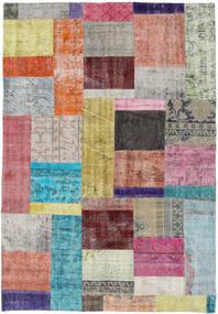 Patchwork Tapete 158X229 Moderno Feito A Mão Rosa/Cinzento Claro (Lã, Turquia)