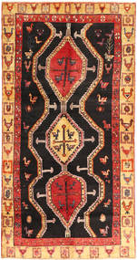Kurdi Rug 138X270 Authentic Oriental Handknotted Dark Brown/Rust Red (Wool, Persia/Iran)