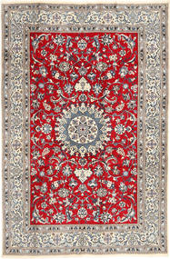 Nain Rug 196X297 Authentic  Oriental Handknotted Light Grey/Crimson Red (Wool, Persia/Iran)