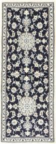 Nain Matta 77X195 Äkta Orientalisk Handknuten Hallmatta Svart/Beige/Ljusgrå (Ull, Persien/Iran)