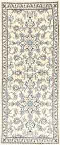 Nain Rug 77X197 Authentic  Oriental Handknotted Hallway Runner  Beige/Light Grey (Wool, Persia/Iran)