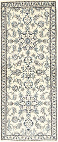 Nain Rug 80X204 Authentic  Oriental Handknotted Hallway Runner  Beige/Light Grey (Wool, Persia/Iran)