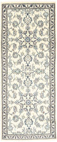 Nain Rug 78X204 Authentic  Oriental Handknotted Hallway Runner  Beige/Light Grey (Wool, Persia/Iran)