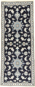 Nain Rug 78X197 Authentic  Oriental Handknotted Hallway Runner  Black/Light Grey/Dark Grey (Wool, Persia/Iran)