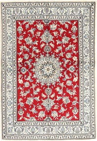 Nain Rug 147X214 Authentic  Oriental Handknotted Beige/Crimson Red (Wool, Persia/Iran)