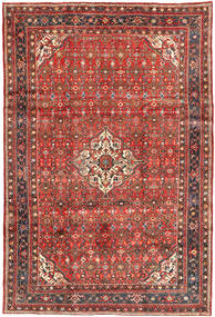 Hosseinabad Matta 212X304 Äkta Orientalisk Handknuten Mörkröd/Mörkbrun (Ull, Persien/Iran)