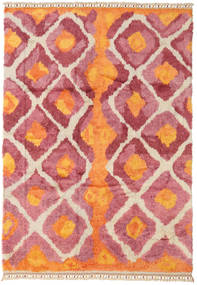 Handknotted Berber Shaggy Rug 196X281 Authentic  Modern Handknotted Orange/Rust Red (Wool, Turkey)