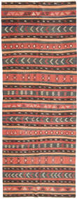 Kilim Rug 152X403 Authentic  Oriental Handwoven Hallway Runner  Light Brown/Dark Grey (Wool, Persia/Iran)