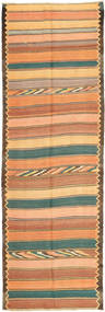 Kilim Rug 135X417 Authentic  Oriental Handwoven Hallway Runner  Dark Beige/Dark Grey/Orange (Wool, Persia/Iran)