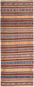 キリム 絨毯 153X410 オリエンタル 手織り 廊下 カーペット 薄茶色/濃いグレー (ウール, ペルシャ/イラン)