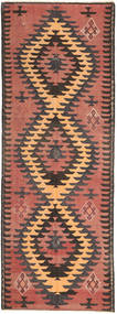 Kilim Rug 140X400 Authentic  Oriental Handwoven Hallway Runner  Dark Brown/Light Brown/Brown (Wool, Persia/Iran)