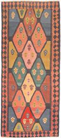 Kelim Fars Tæppe 137X310 Ægte Orientalsk Håndvævet Tæppeløber Mørkegrå/Lysebrun (Uld, Persien/Iran)
