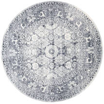 Pasha - Dark Blue/Grey Rug Ø 200 Modern Round Light Grey/Light Blue ( Turkey)