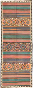 Kilim Fars Rug 145X388 Authentic  Oriental Handwoven Hallway Runner  Dark Grey/Light Pink (Wool, Persia/Iran)