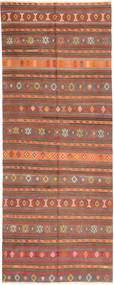 Kilim Fars Rug 157X400 Authentic  Oriental Handwoven Hallway Runner  Brown/Orange (Wool, Persia/Iran)