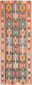 Kilim Rug 147X397 Authentic  Oriental Handwoven Hallway Runner  Dark Grey/Light Pink (Wool, Persia/Iran)