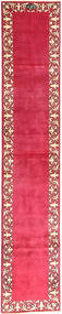 Tabriz Teppe 74X400 Ekte Orientalsk Håndknyttet Teppeløpere Rød/Rosa (Ull, Persia/Iran)