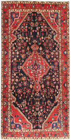 Hamadan Rug 160X312 Authentic  Oriental Handknotted Hallway Runner  Dark Blue/Brown (Wool, Persia/Iran)