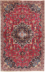 Mashad Matta 140X233 Äkta Orientalisk Handknuten Röd/Mörklila (Ull, Persien/Iran)