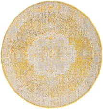 Nadia - Keltainen Matto Ø 200 Moderni Pyöreä Vaaleanruskea/Keltainen/Tummanbeige ( Turkki)