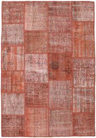 Patchwork Matto 156X228 Moderni Käsinsolmittu Ruskea/Vaaleanpunainen (Villa, Turkki)