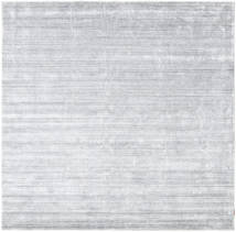 Bamboo Silk Loom - Grey Rug 250X250 Modern Square White/Creme/Light Blue Large ( India)