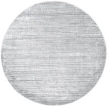 Bamboo Silk Loom - Grey Rug Ø 200 Modern Round Light Grey/White/Creme ( India)