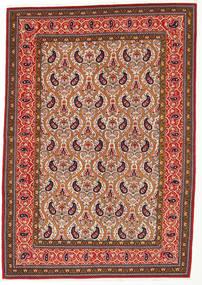 Ghom Kork/Seide Teppich 142X205 Echter Orientalischer Handgeknüpfter Rost/Rot/Dunkelbraun (Wolle/Seide, Persien/Iran)