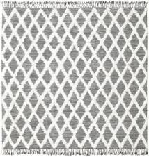 Inez - Marrone Scuro/Bianco Tappeto 250X250 Moderno Tessuto A Mano Quadrato Grigio Chiaro/Beige Grandi (Lana, India)
