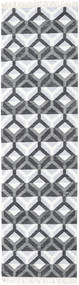 Aino Rug 80X300 Authentic  Modern Handwoven Hallway Runner  Dark Grey/White/Creme/Light Grey (Wool/Bamboo Silk, India)