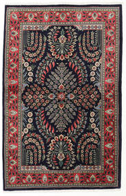 Sarouk Rug 142X220 Authentic  Oriental Handknotted Black/Dark Grey (Wool, Persia/Iran)