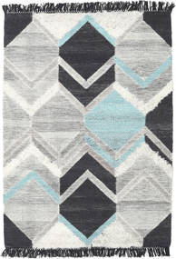 Silvana - Teal Rug 140X200 Authentic  Modern Handwoven Light Grey/Dark Grey (Wool, India)